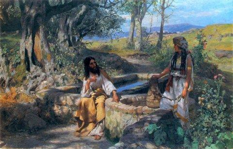 Gesù e la samaritana h. siemiradzki